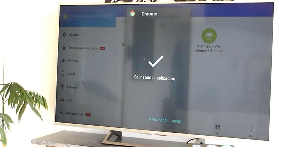 chrome instalado en android tv apk