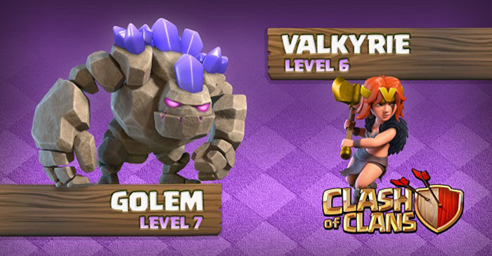 Clash of Clans Gólem nivel 7 Valquiria nivel 6