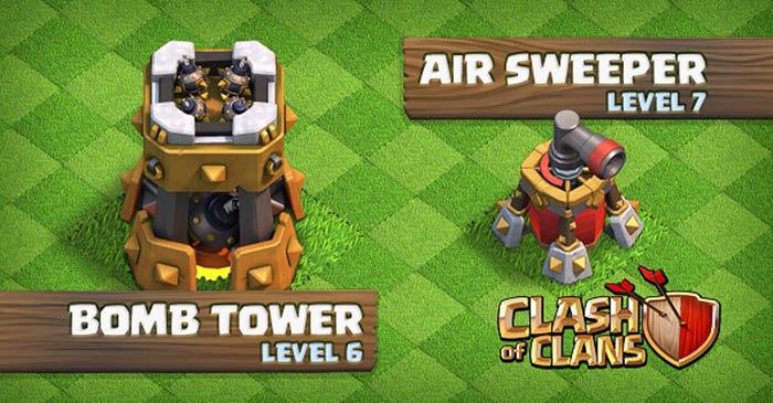 Clash of Clans Torre bombardera nivel 6 Controlador aéreo nivel 7