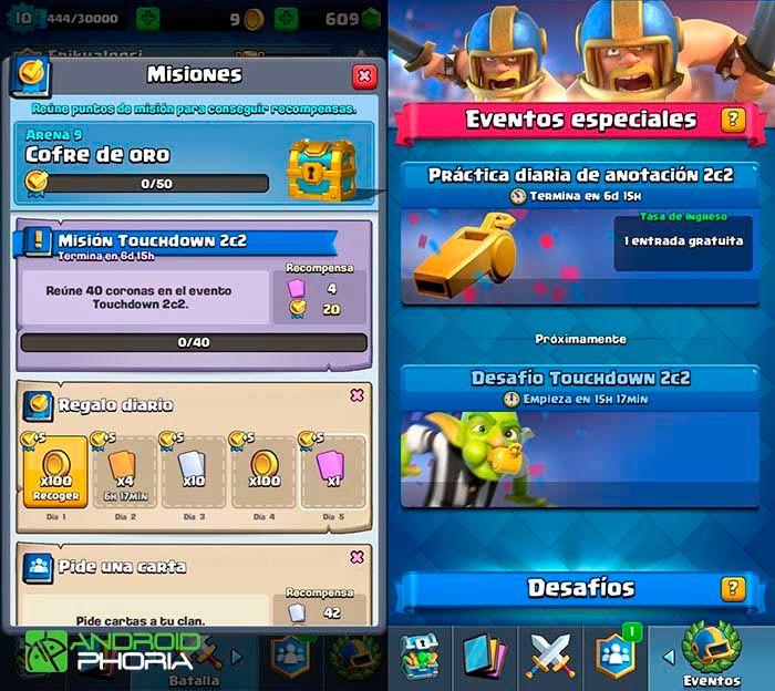 Clash Royale actualización misiones