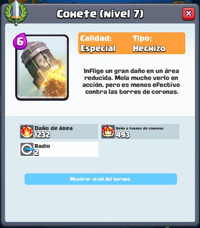 Clash Royale cohete nivel de torneo