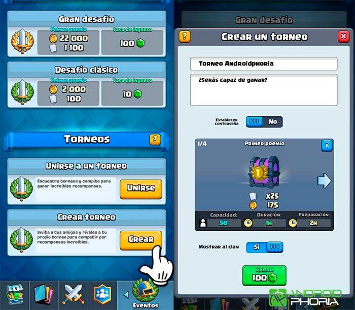 Clash Royale cómo crear torneo