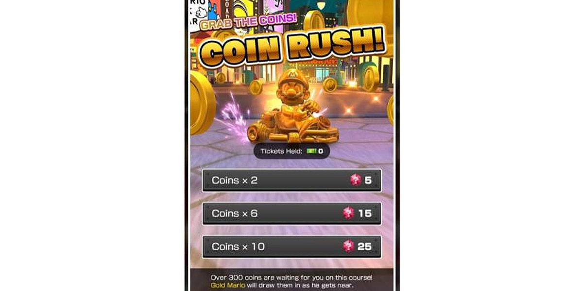 coin rush mario kart tour fiebre del oro