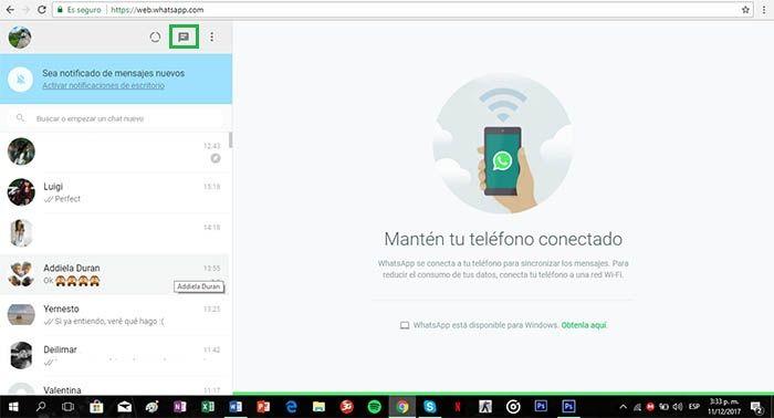 comenzar un nuevo chat en la version web de whatsapp