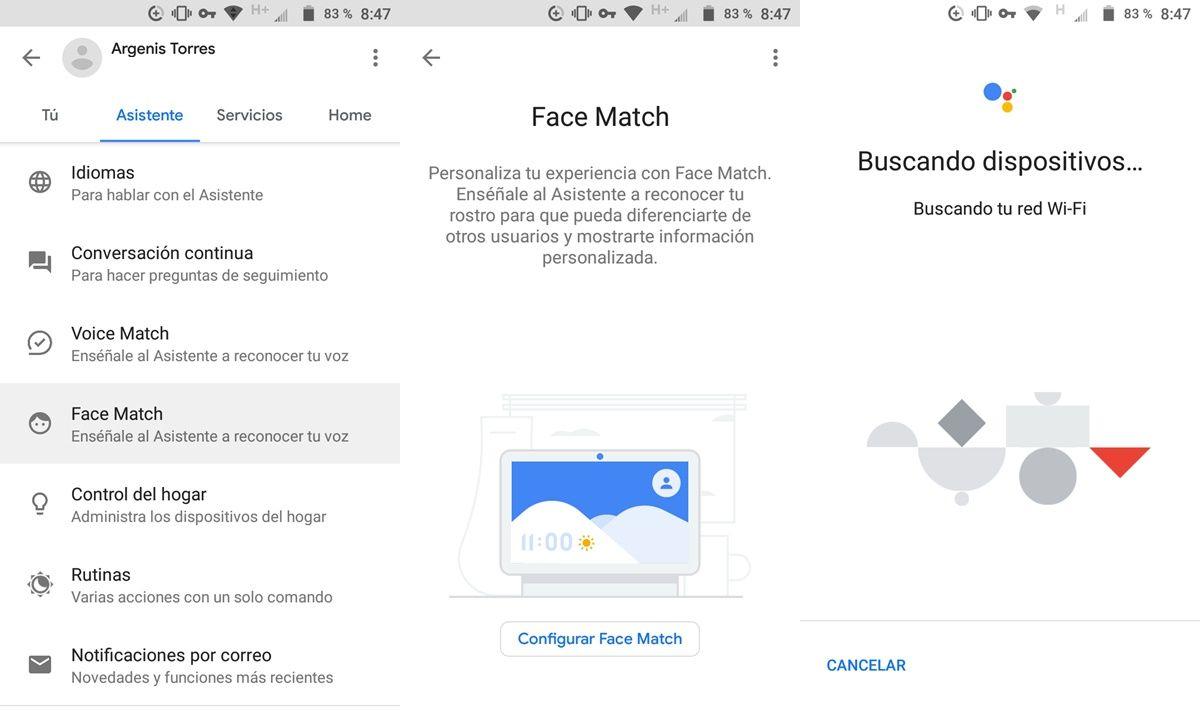 como acceder a face match google assitant android