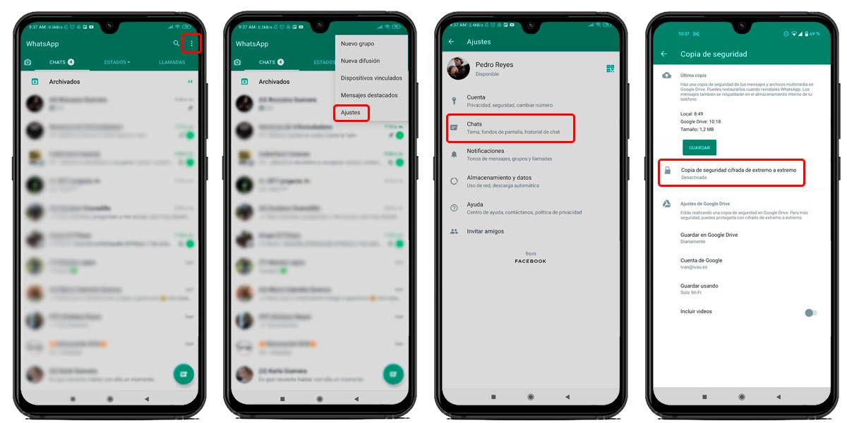 cómo activar copias seguridad cifradas whatsapp