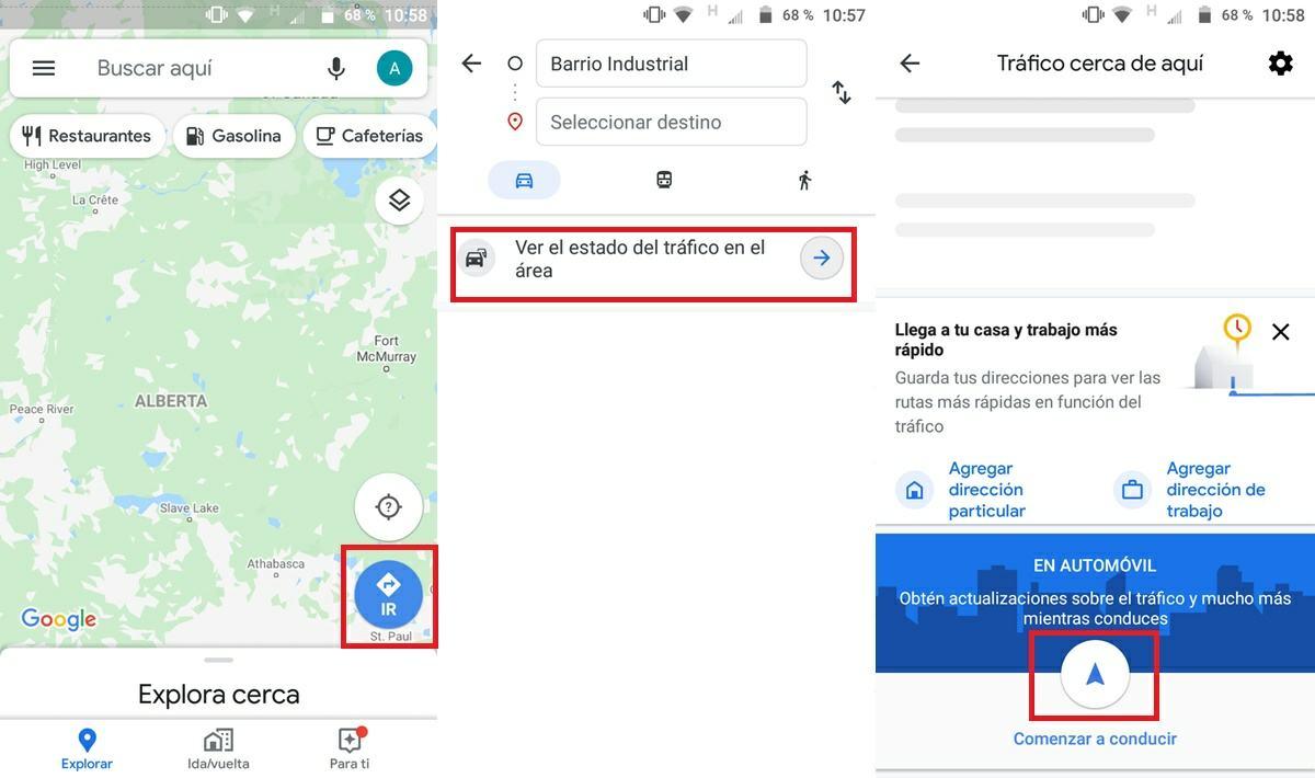 como activar modo conduccion google maps