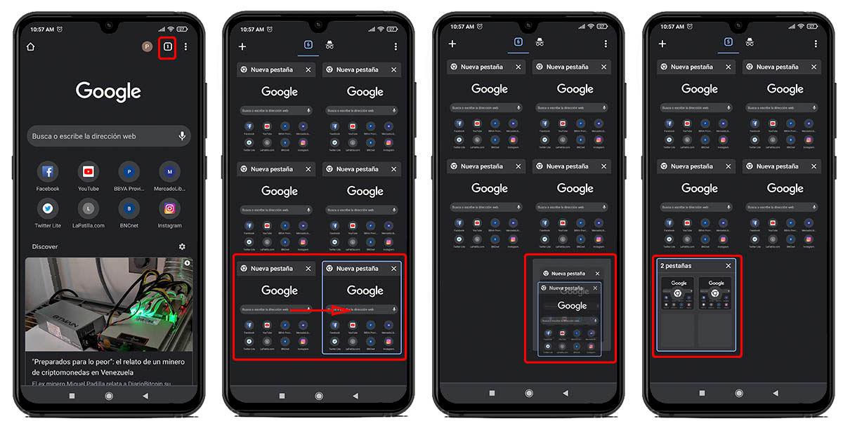 cómo agrupar pestanas google chrome android