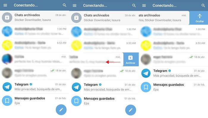 como archivar chat en telegram