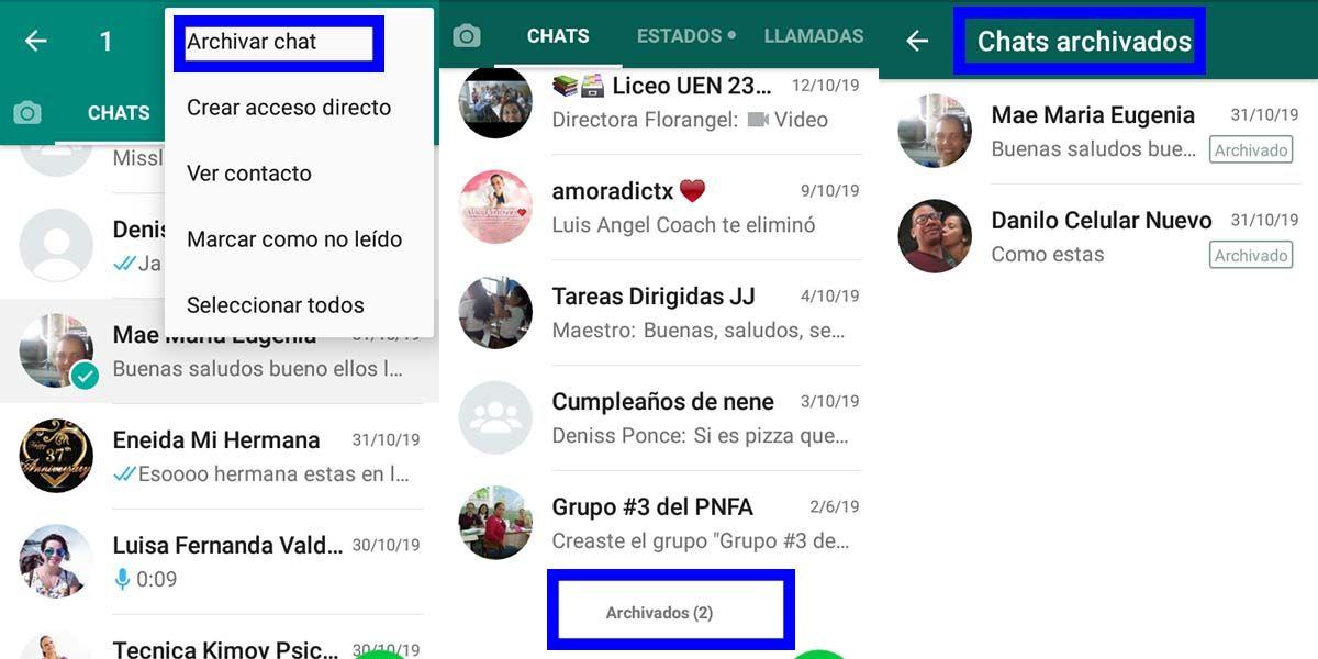 como archivar mis chat en whatsapp