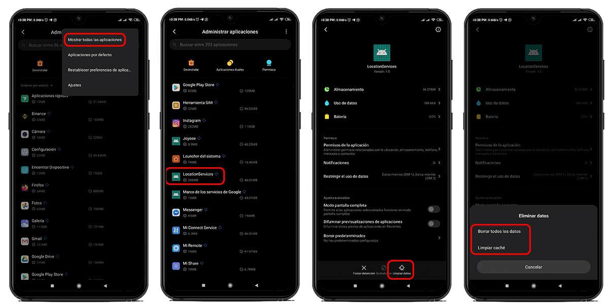 cómo borrar la caché y datos del servicio de ubicación de Android en tu Xiaomi