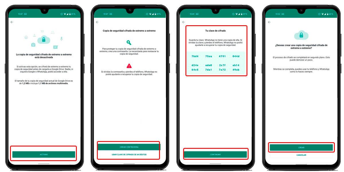 cómo cifrar respaldos de whatsapp