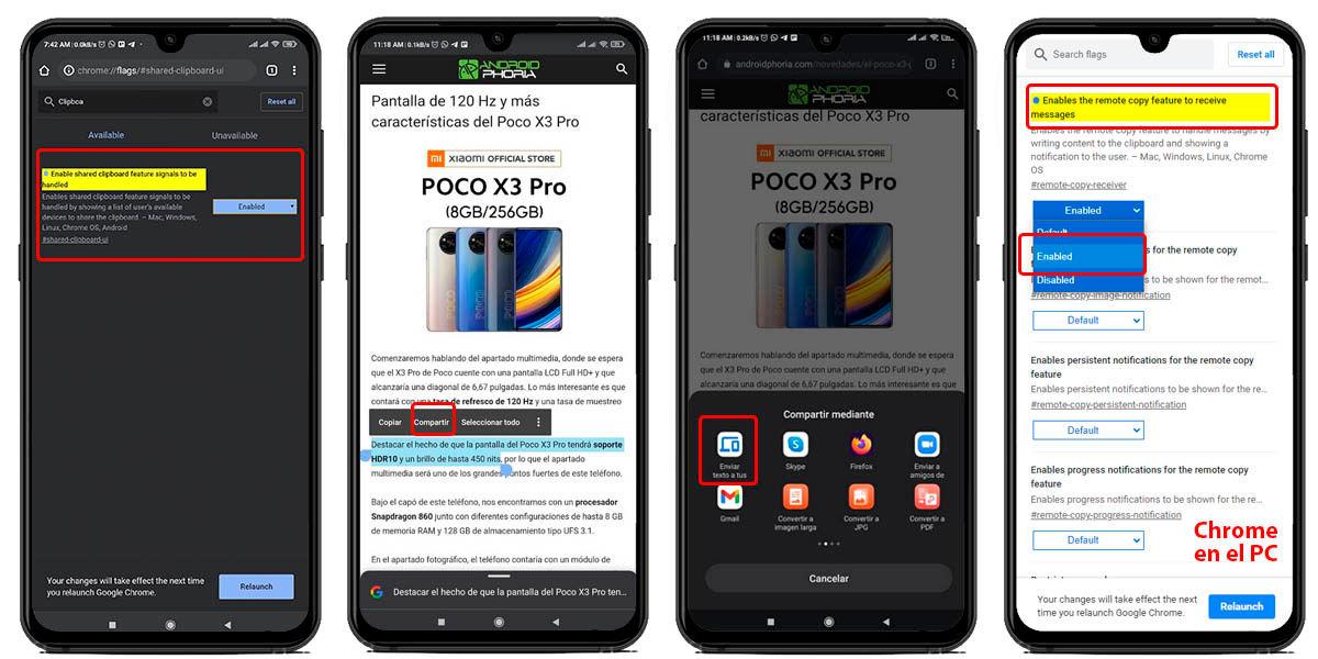 cómo compartir portapapeles google chrome