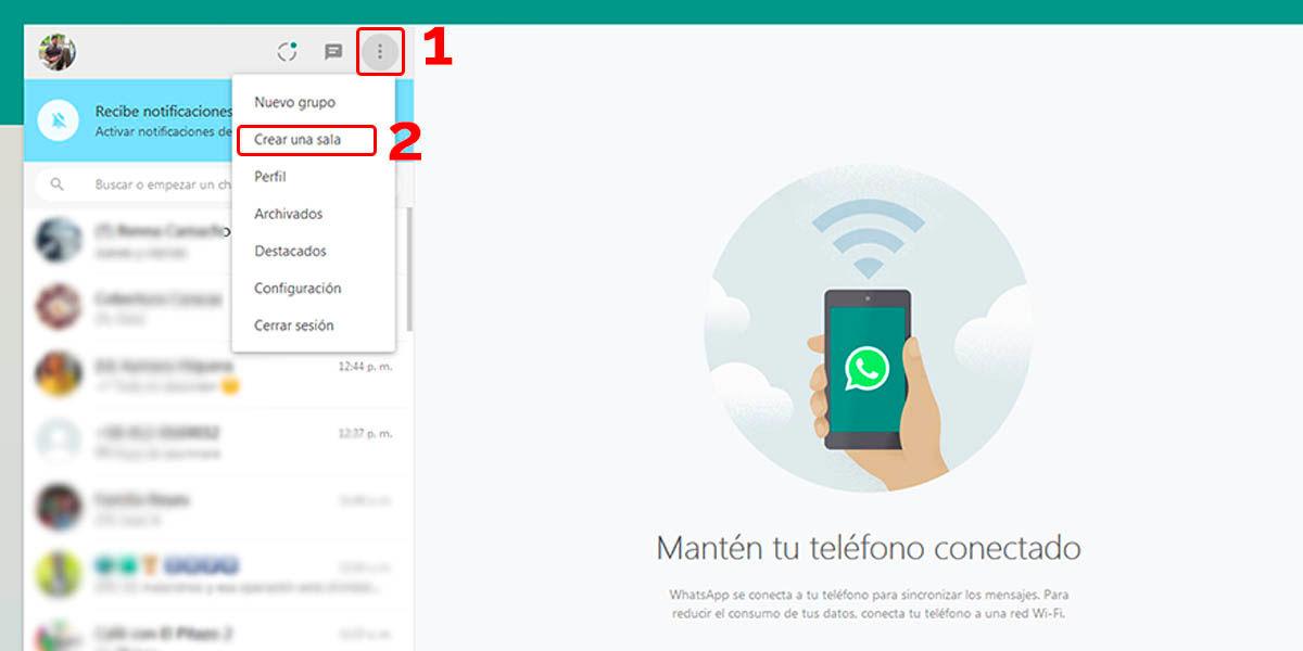 cómo crear salas de chat para videollamadas de 50 personas en whatsapp web