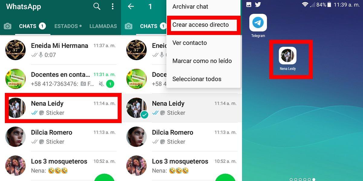 como crear un acceso directo en whatsapp