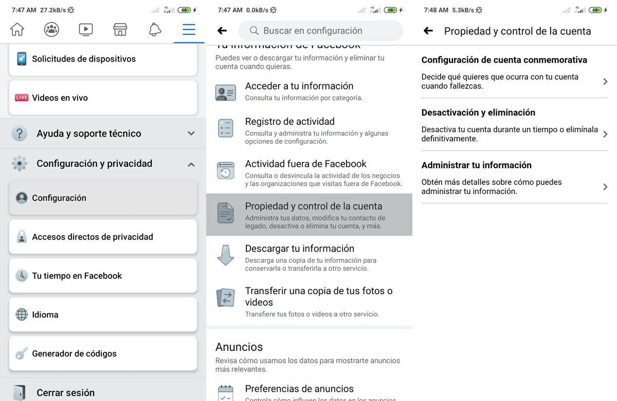 como desactivar cuenta de facebook en la app para android