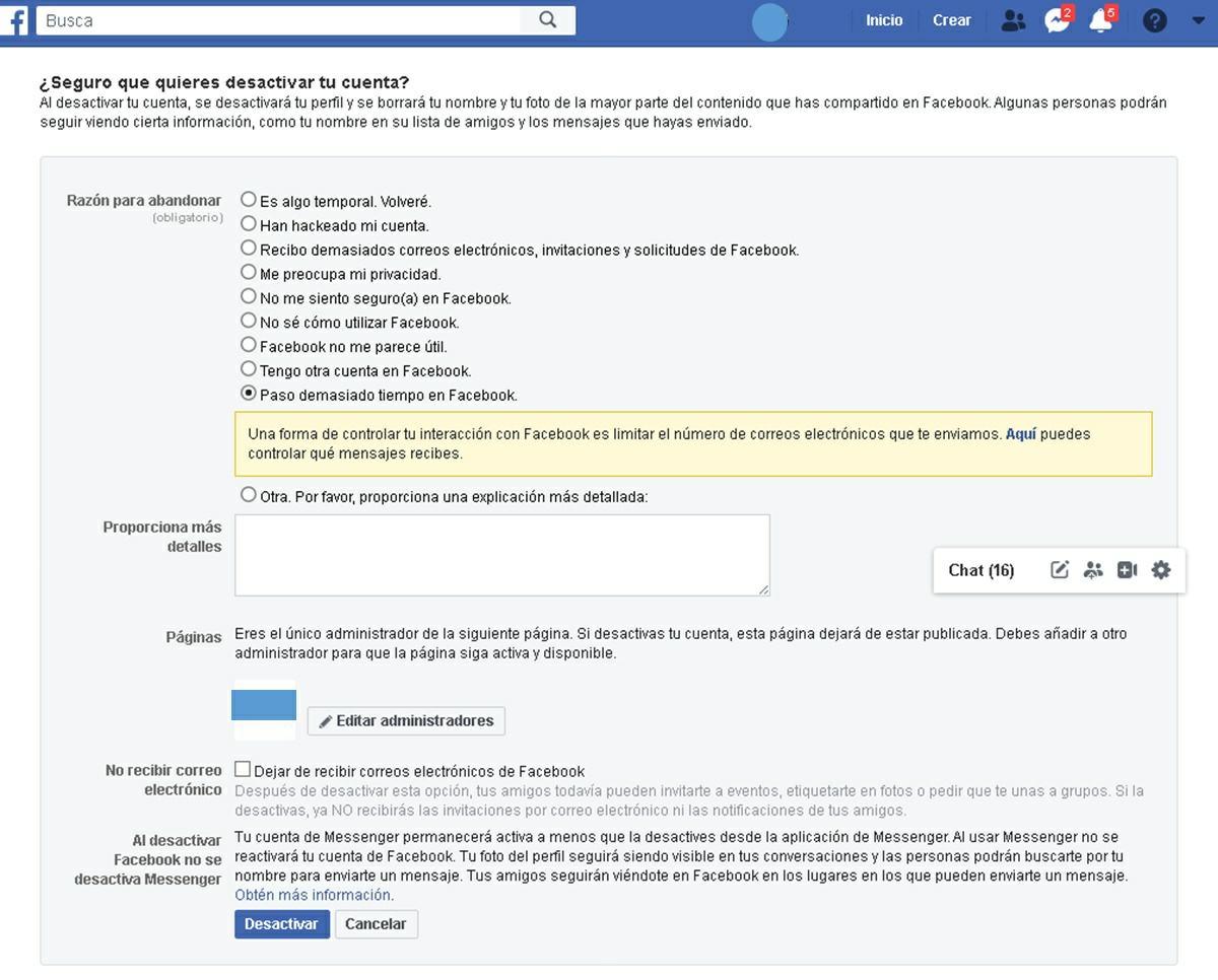 como desactivar cuenta de facebook en la pagina web paso 3