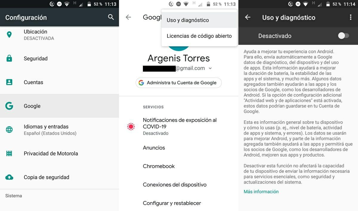 como desactivar la monitorizacion de uso de apps que hace google en android