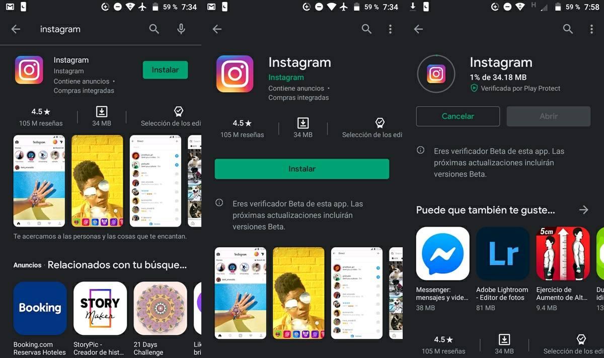 como descargar instagram en android