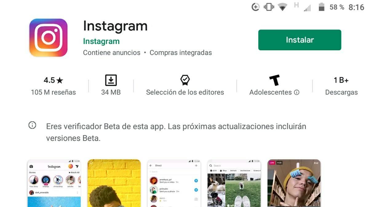 como descargar instagram en tablet android