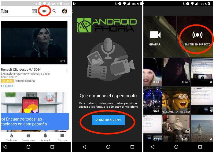 como emitir en directo en youtube para android