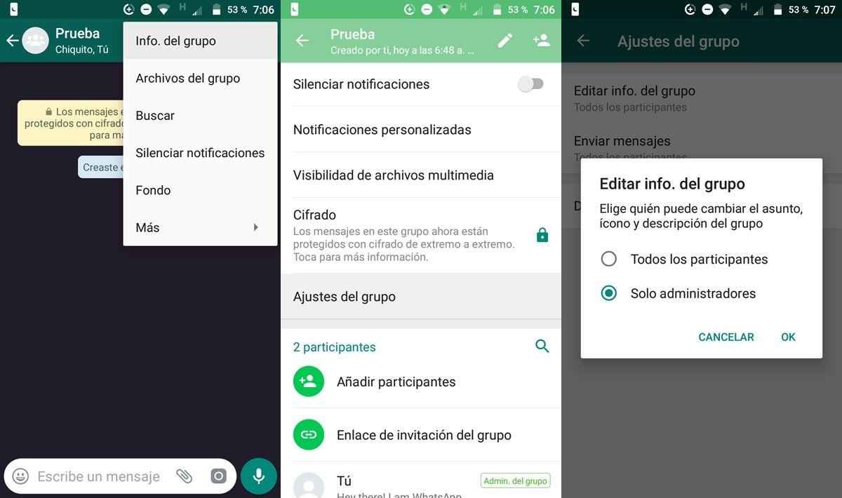 como evitar cambien nombre grupo de whatsapp