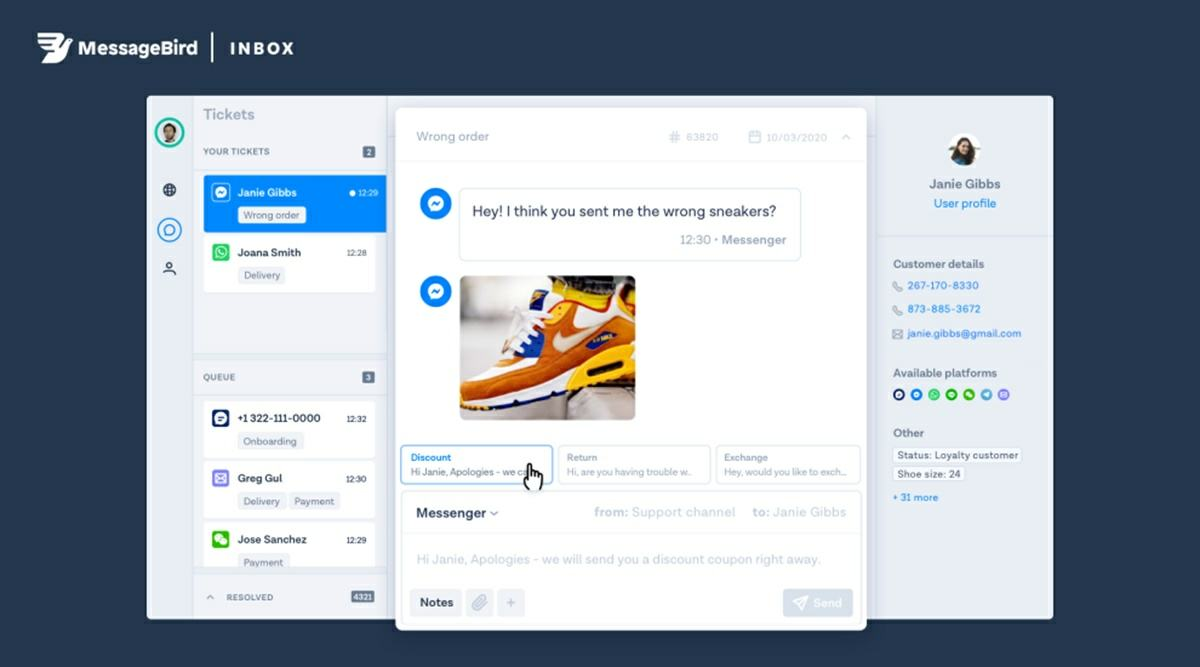 como funciona recomendacion de respuestas de la app Inbox