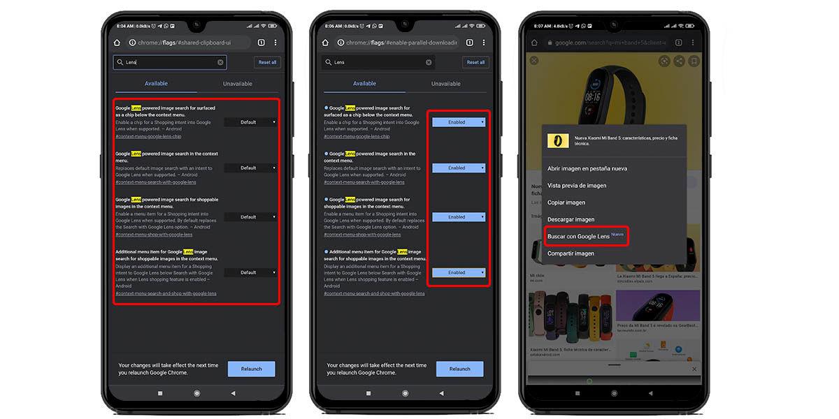 cómo habilitar búsqueda google lens chrome android
