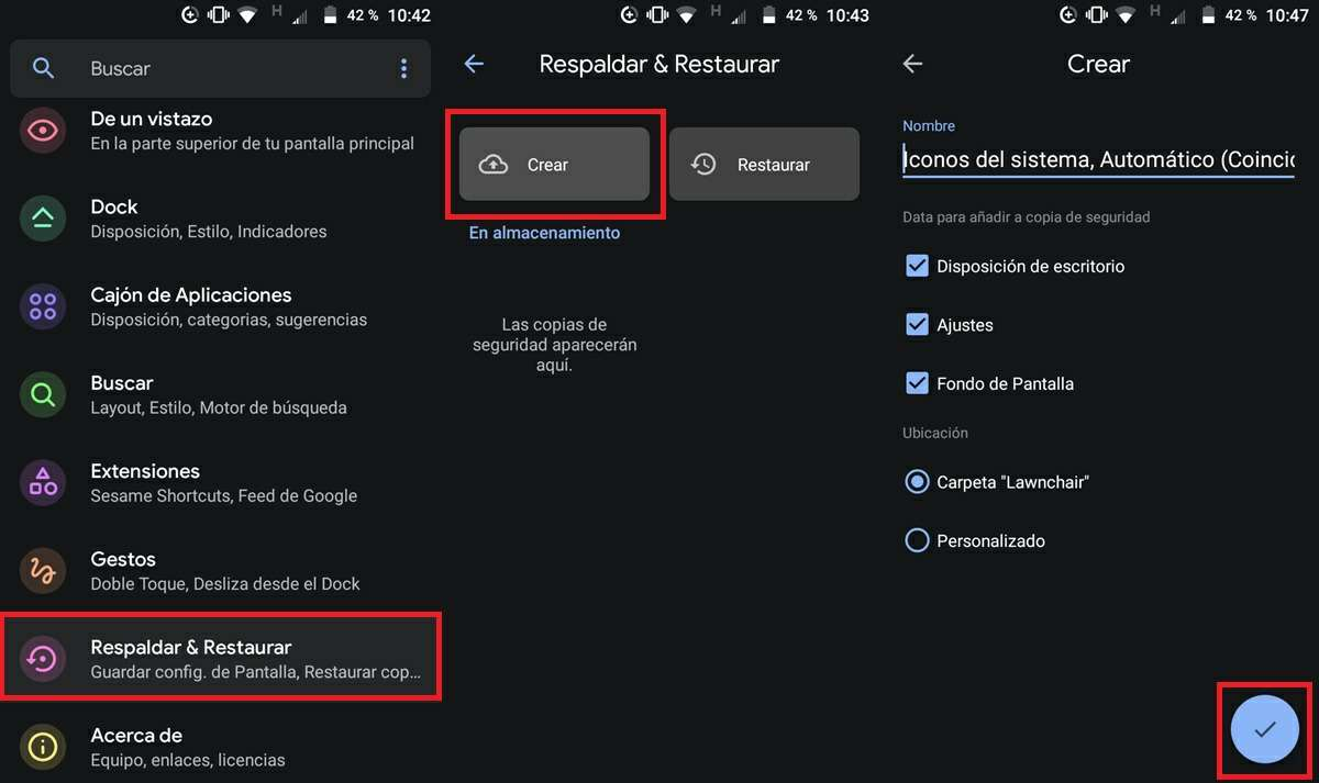 como hacer copia de seguridad en lawnchair launcher