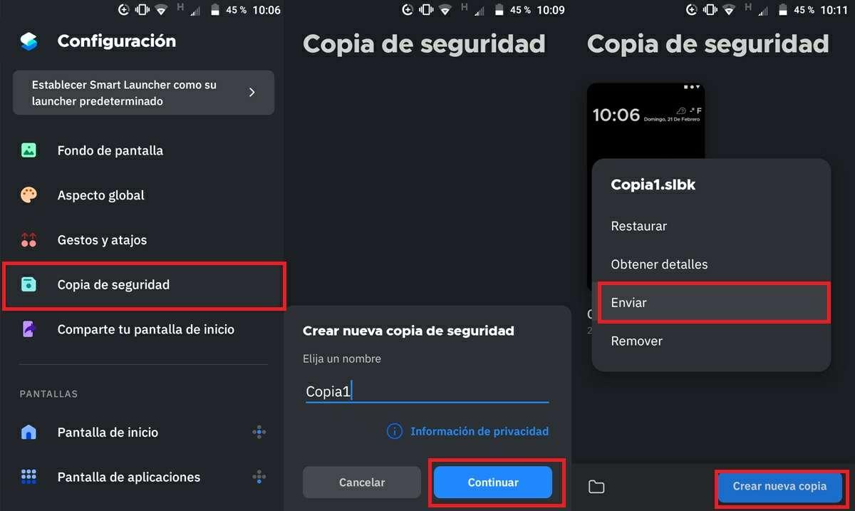 como hacer copia de seguridad en smart launcher