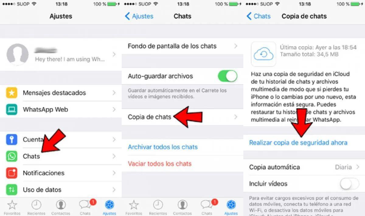 como hacer copia de seguridad whatsapp iphone