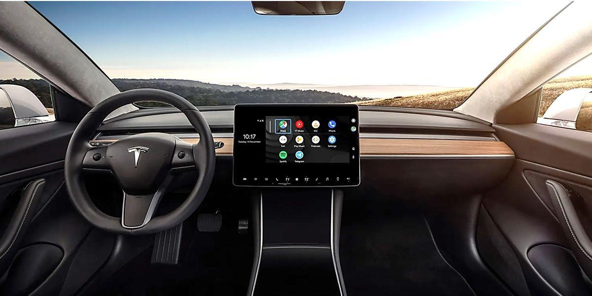 como instalar android auto en coches tesla