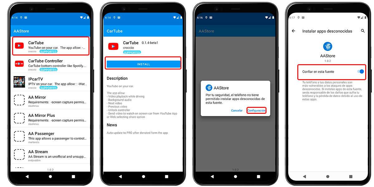 cómo instalar cartube en android
