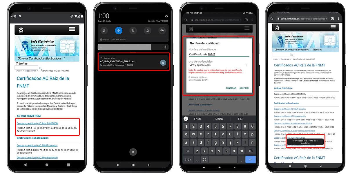 cómo instalar certificado raíz fnmt en android