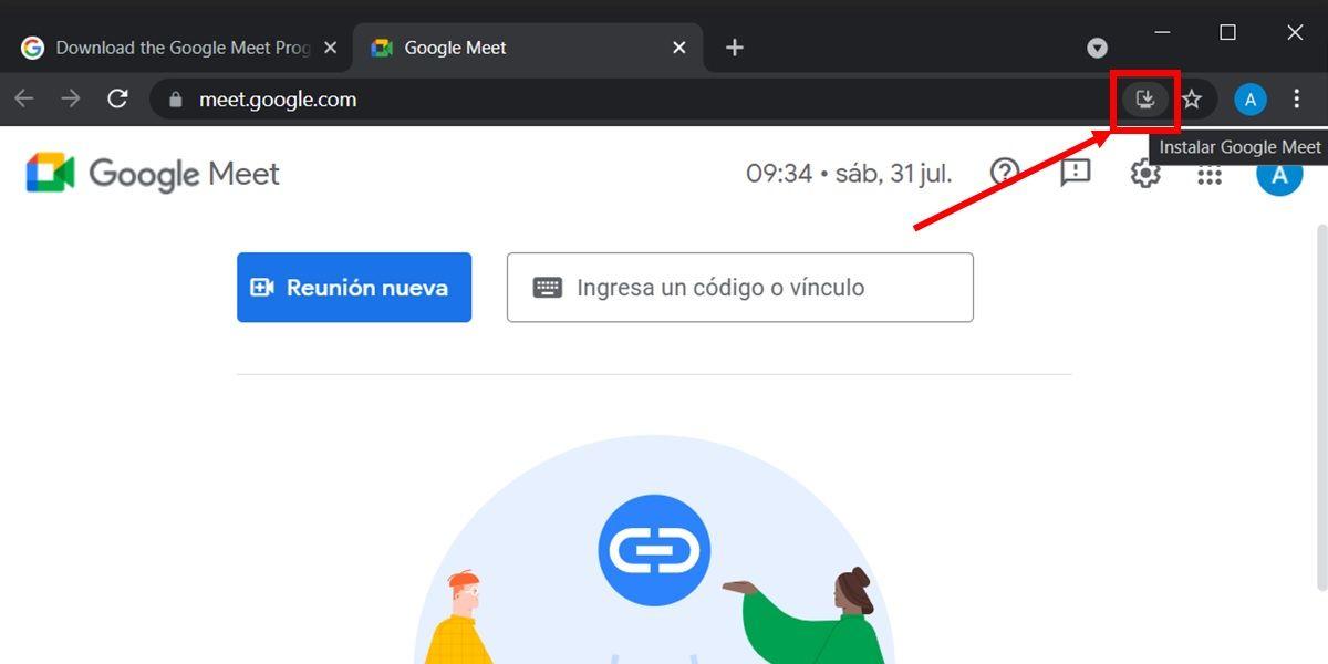 como instalar la app de google meet desde chrome