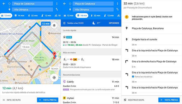 Google Maps cómo llegar programar ruta