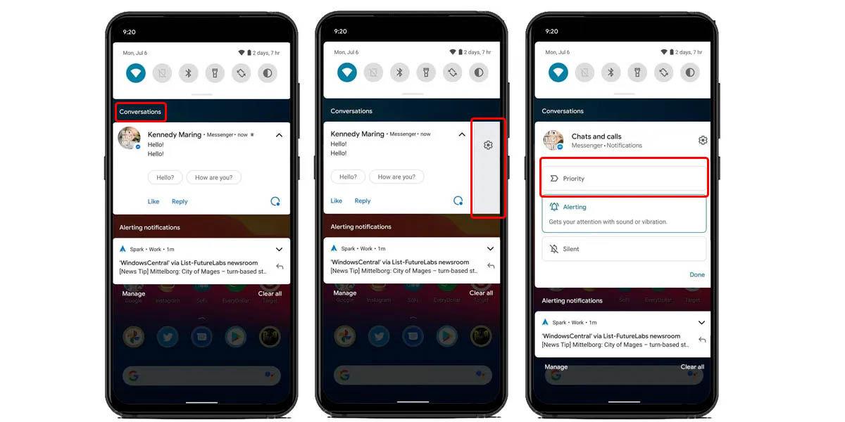 cómo priorizar notificaciones Android 11