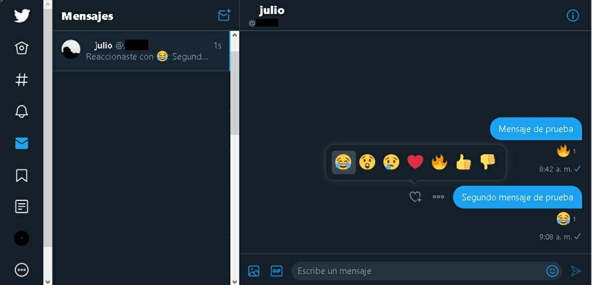 como reaccionar emojis mensajes directos twitter pc