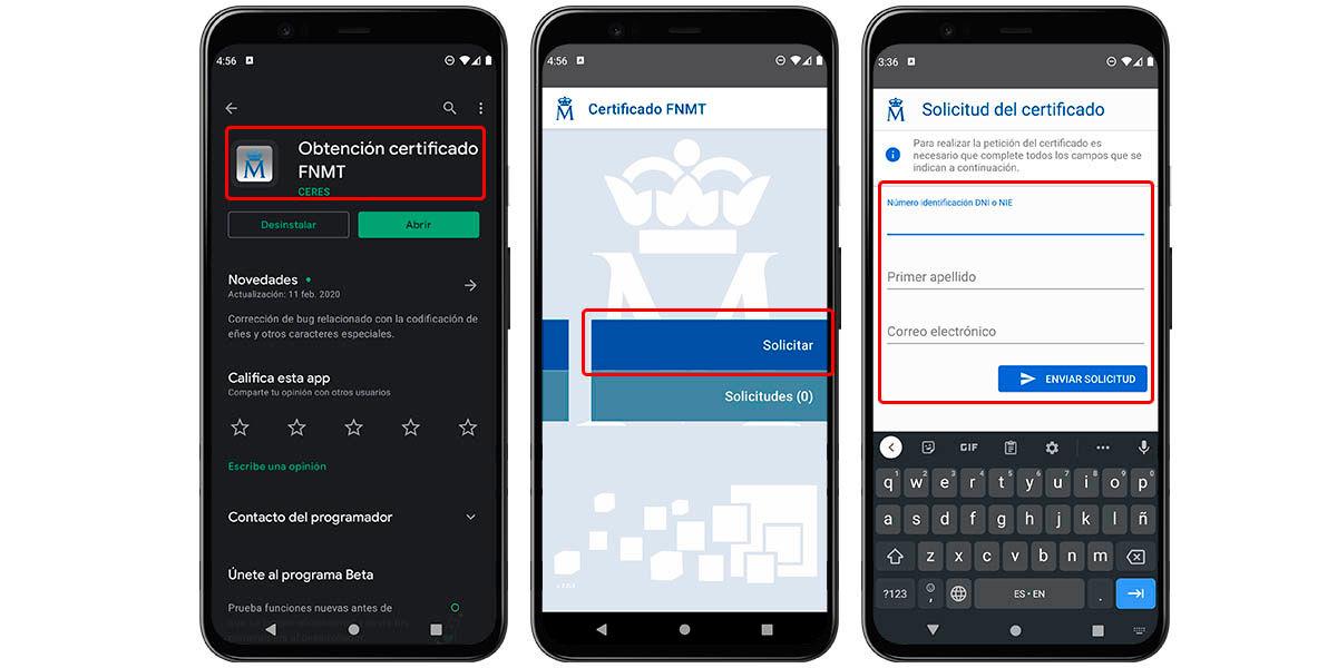 cómo solicitar certificado digital en android