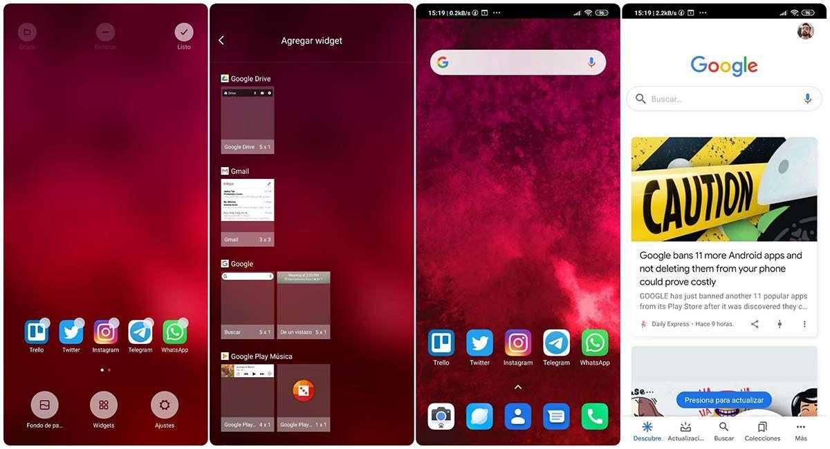 como usar el widget de google discover android xiaomi miui