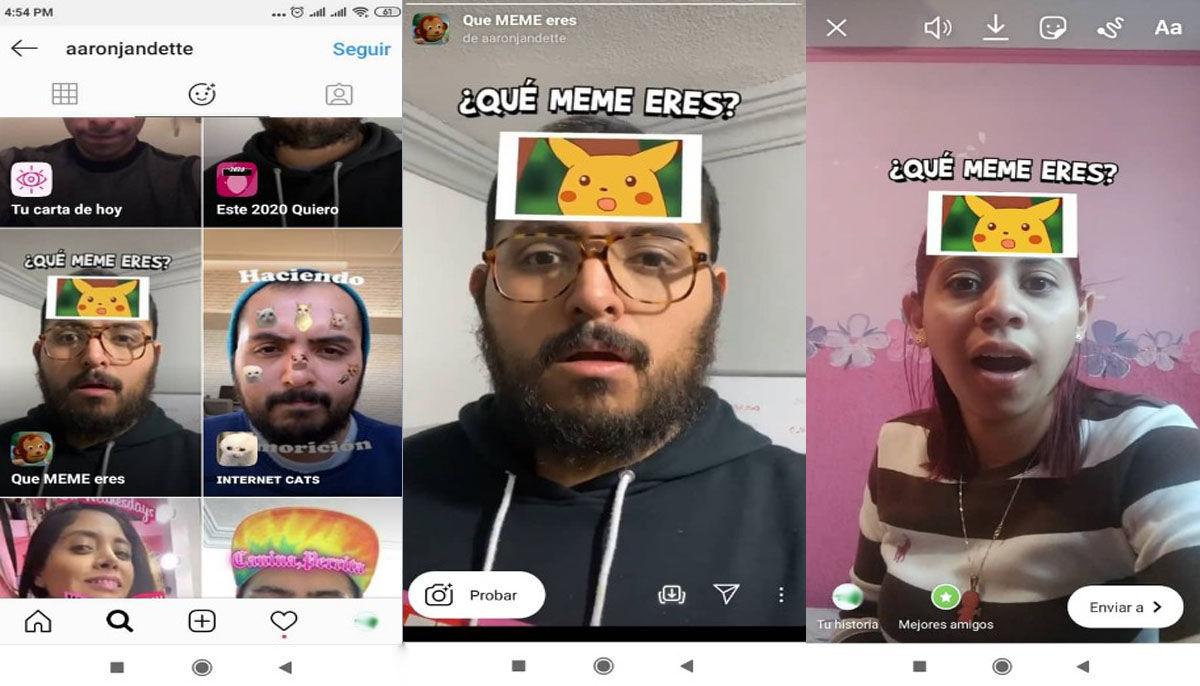 como usar filtro Que meme eres Instagram