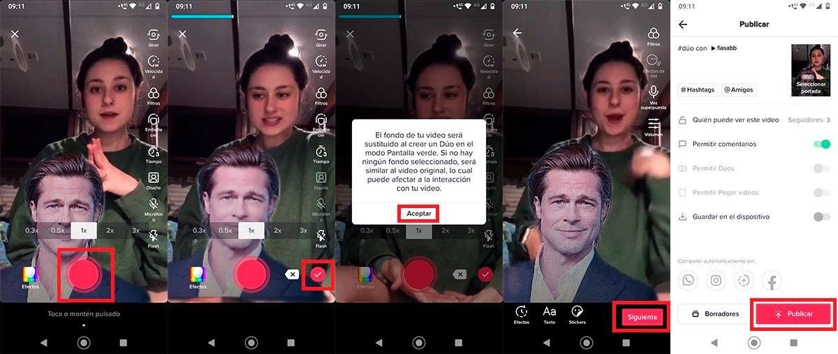 como usar filtro pantalla verde duos TikTok