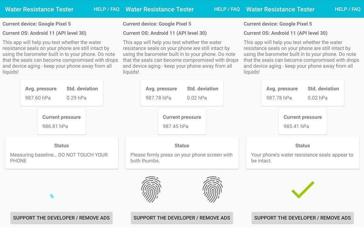 como usar la app water resistance tester
