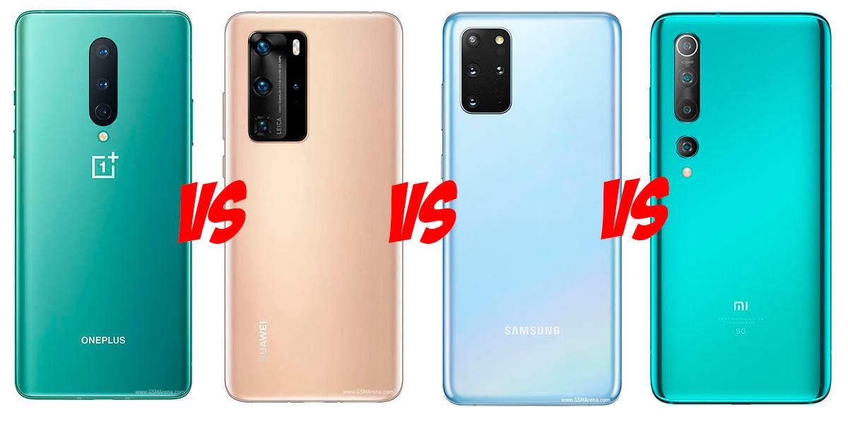 comparativa OnePlus 8 vs Huawei P40 Pro vs Galaxy S20 plus vs Xiaomi Mi 10