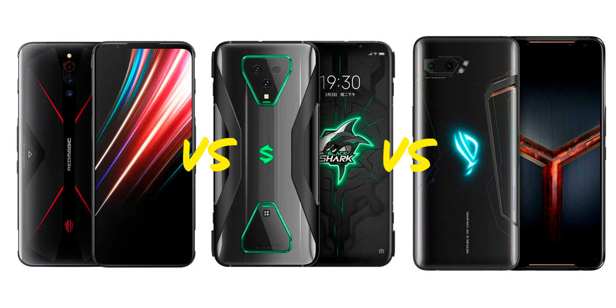 comparativa ZTE Nubia Red Magic 5G vs Black Shark 3 Pro vs Asus ROG Phone 2
