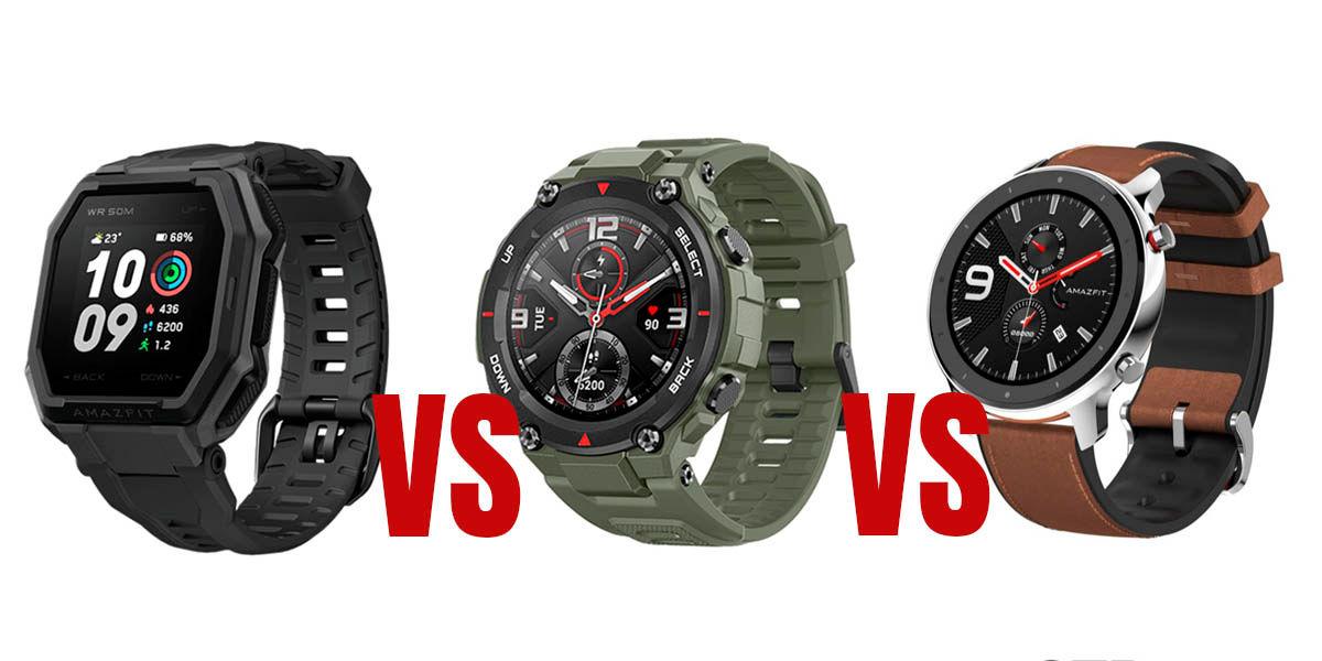comparativa amazfit ares vs t-rex vs gtr el mejor smarthwatch