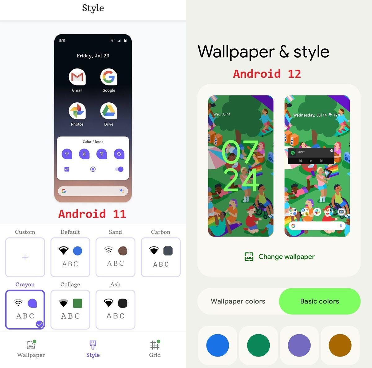 comparativa de personalizacion android 11 vs android 12