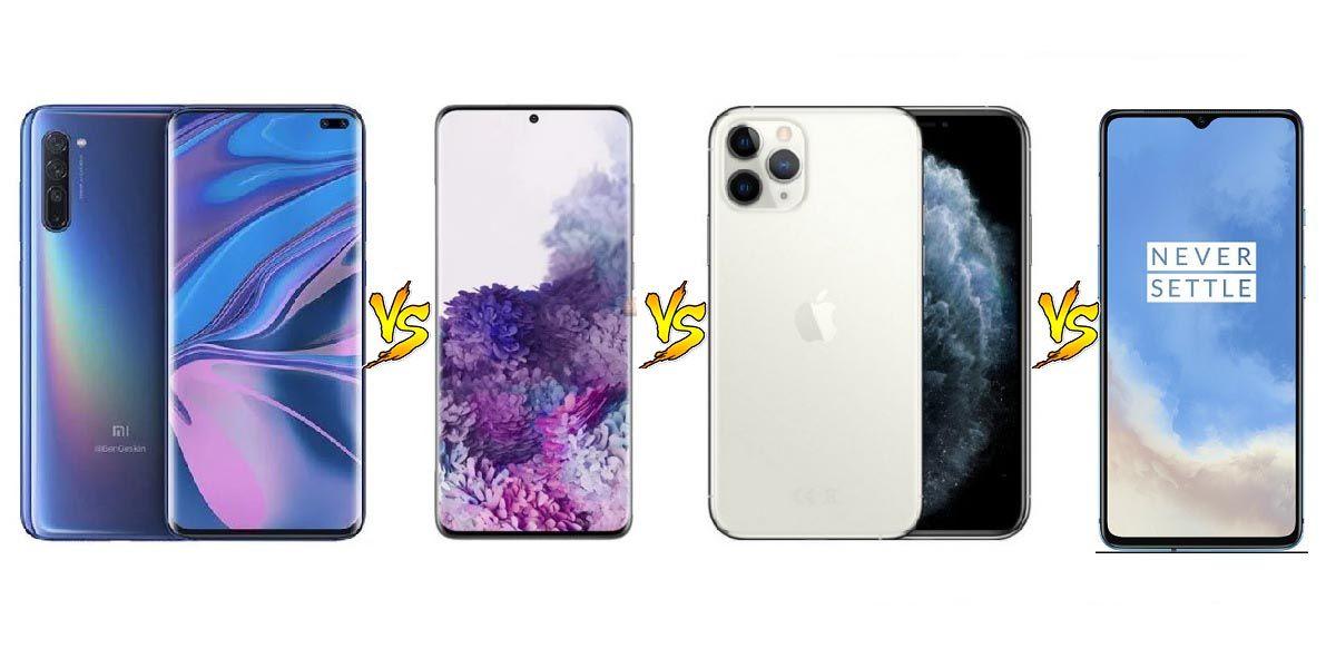 comparativa mi 10 s20 plus iphone 11 pro oneplus 7t