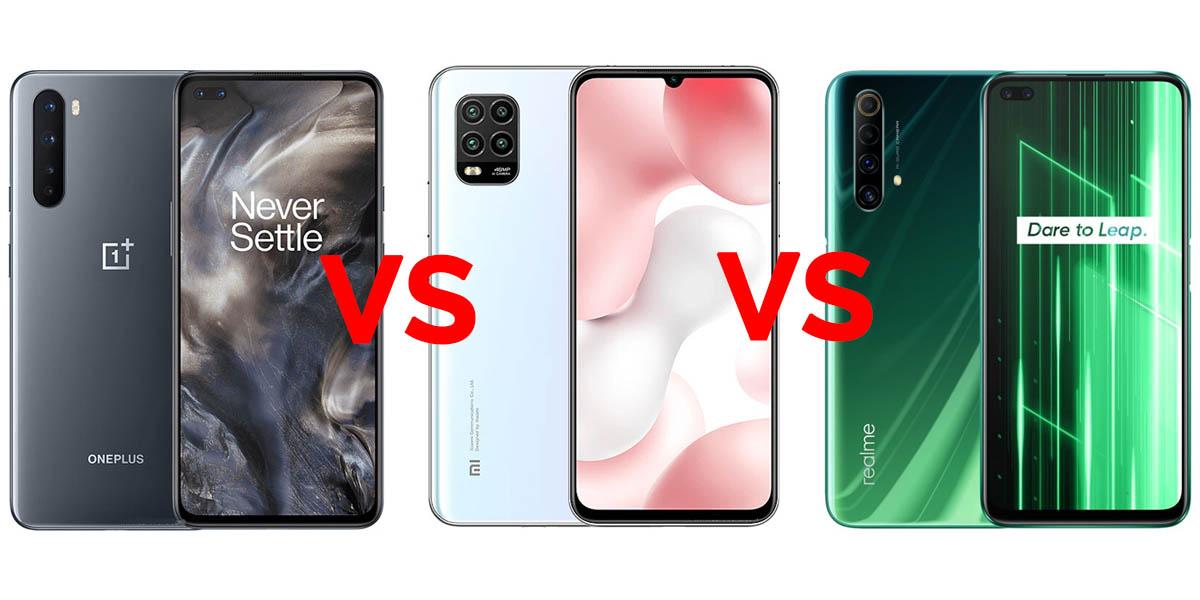 comparativa oneplus nord vs xiaomi mi 10 lite vs realme x50 5g