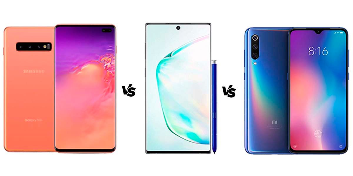 comparativa samsung galaxy s10 plus vs galaxy note 10 vs mi 9